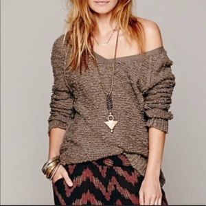 Free People Songbird brown knit sweater small